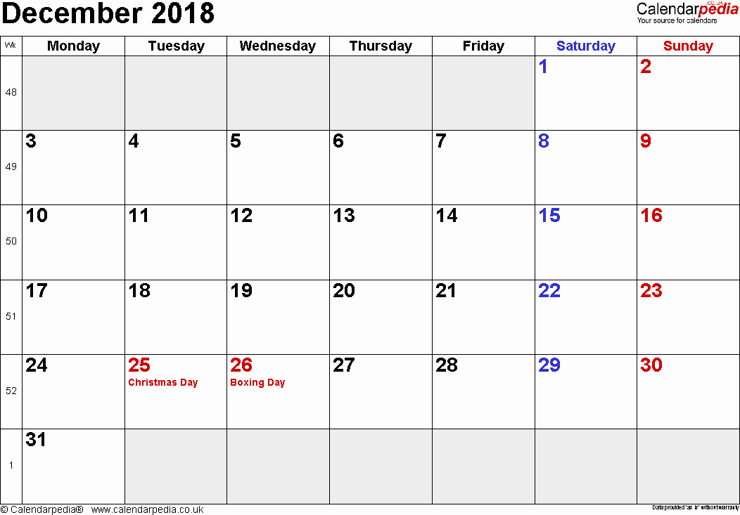 Printable Calendar December 2018 Landscape Luxury Calendar December 2018 Uk Bank Holidays Excel Pdf Word