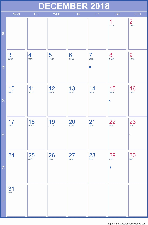 Printable Calendar December 2018 Landscape Luxury December 2018 Calendar Portrait