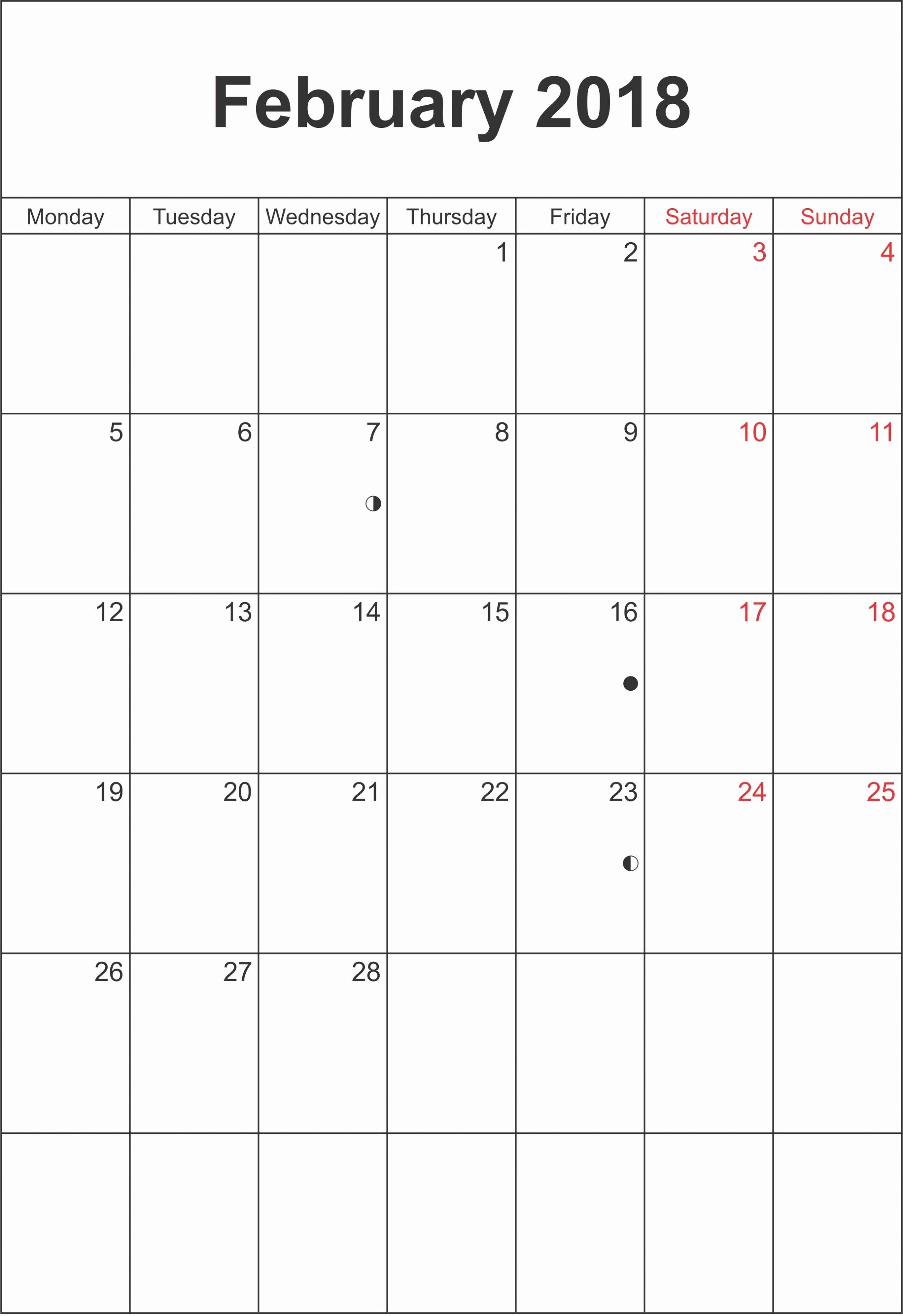 Printable Calendar December 2018 Landscape Luxury February 2018 Calendar Landscape & Portrait Printable