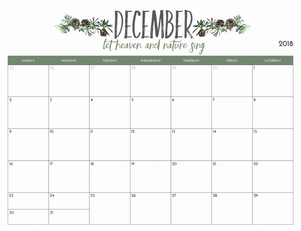 Printable Calendar December 2018 Landscape Luxury Free Printable 2018 December Calendar