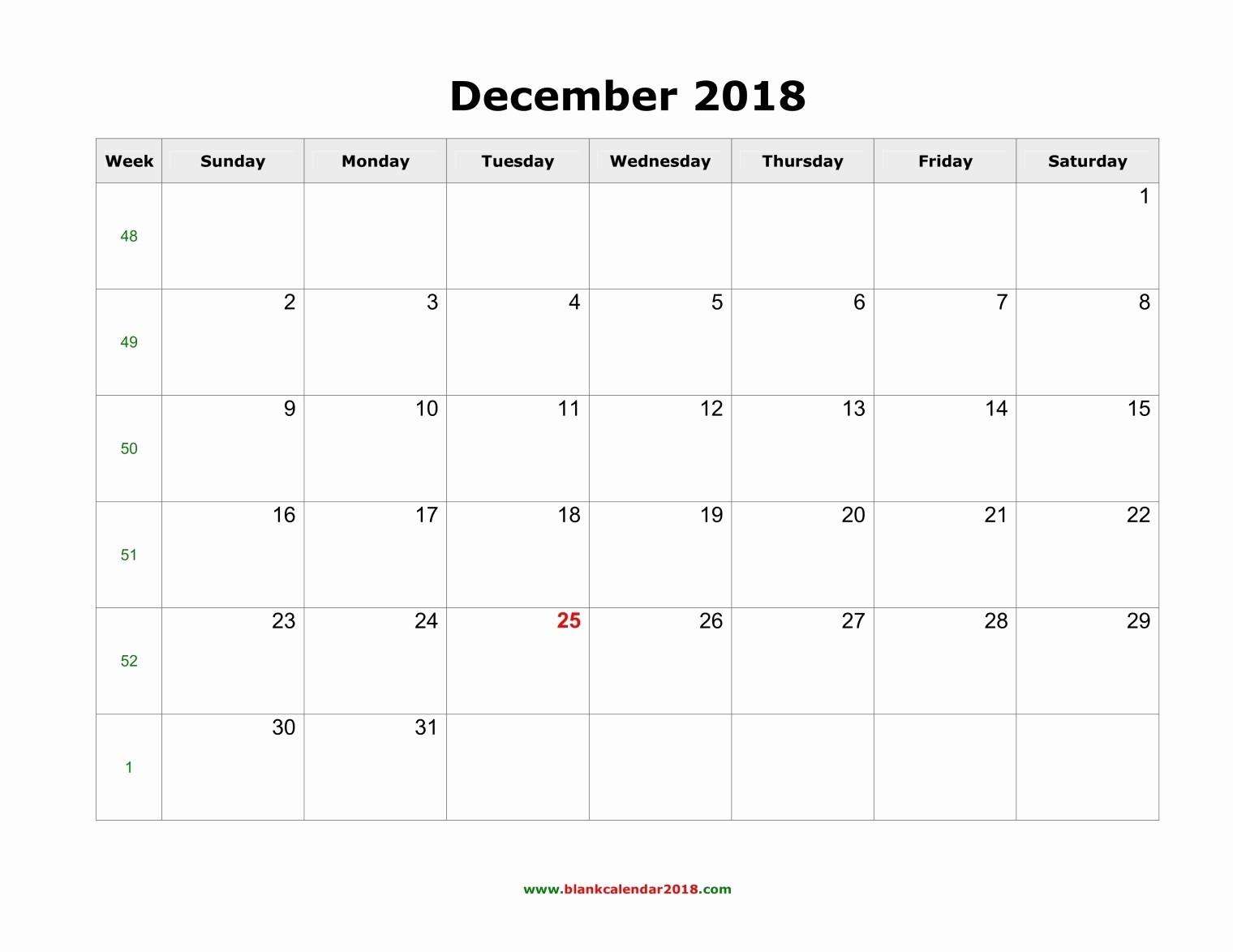 Printable Calendar December 2018 Landscape New Blank Calendar for December 2018