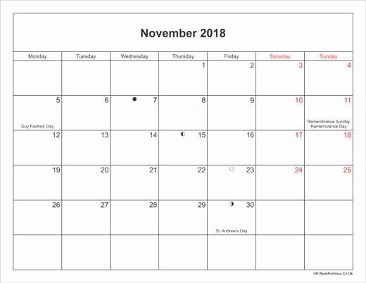 Printable Calendar December 2018 Landscape New November 2018 Calendar Printable with Bank Holidays Uk