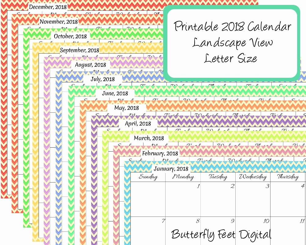 Printable Calendar December 2018 Landscape New Printable Calendar Landscape 2018 Chevron Month Calendar