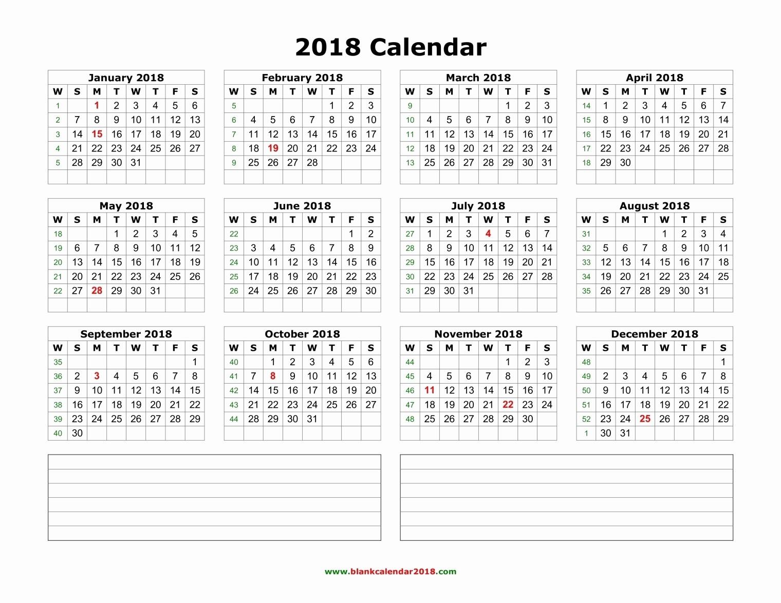 Printable Calendar December 2018 Landscape Unique Blank Calendar 2018 with Notes Landscape