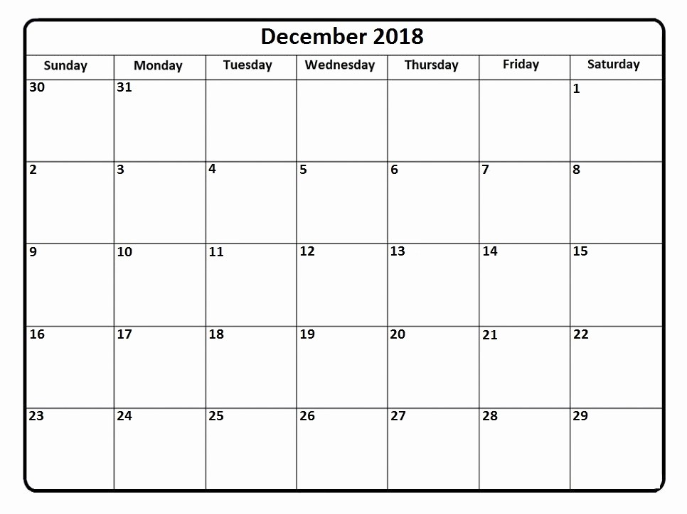 Printable Calendar December 2018 Landscape Unique December 2018 Calendar