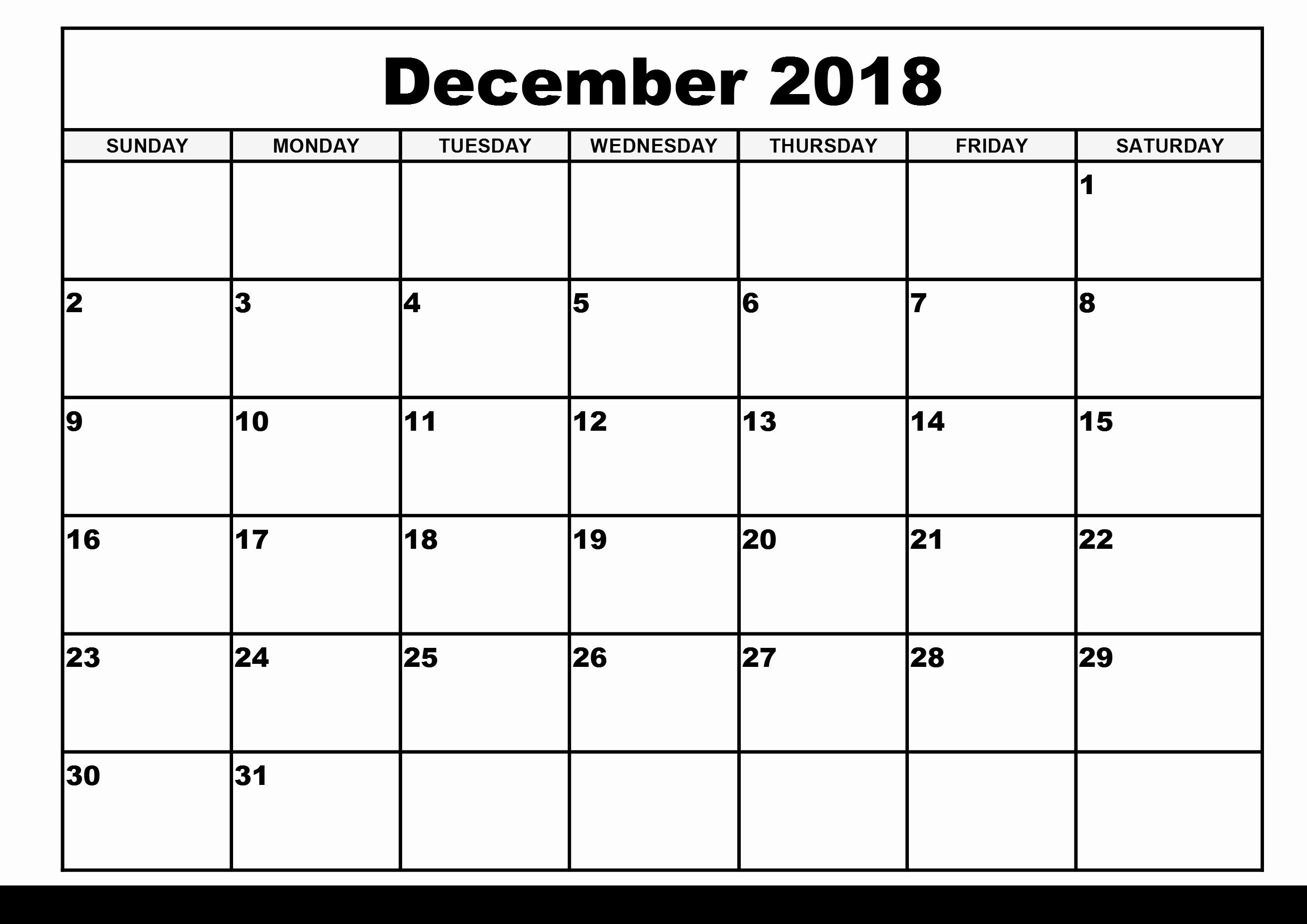 Printable Calendar December 2018 Landscape Unique December 2018 Calendar Printable Free]