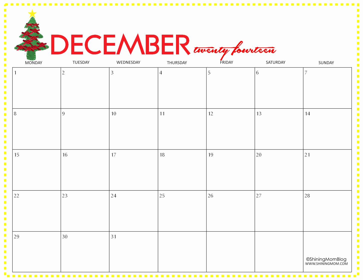 Printable Calendar December 2018 Landscape Unique Free Printable December 2014 Calendar by Shining Mom