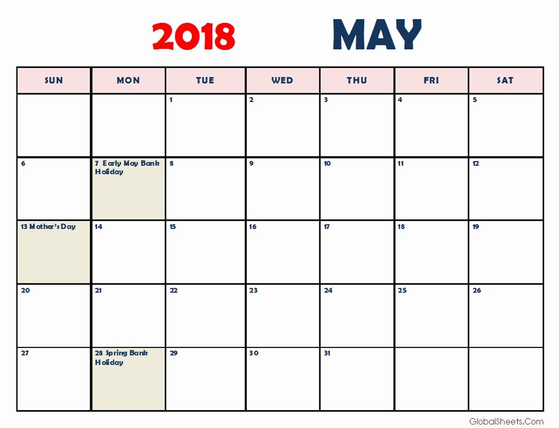 may 2018 calendar portrait landscape printable