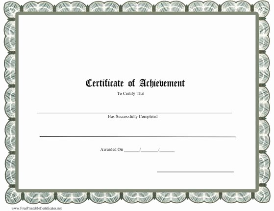 Printable Certificate Of Achievement Template Awesome Printable Certificate Of Achievement