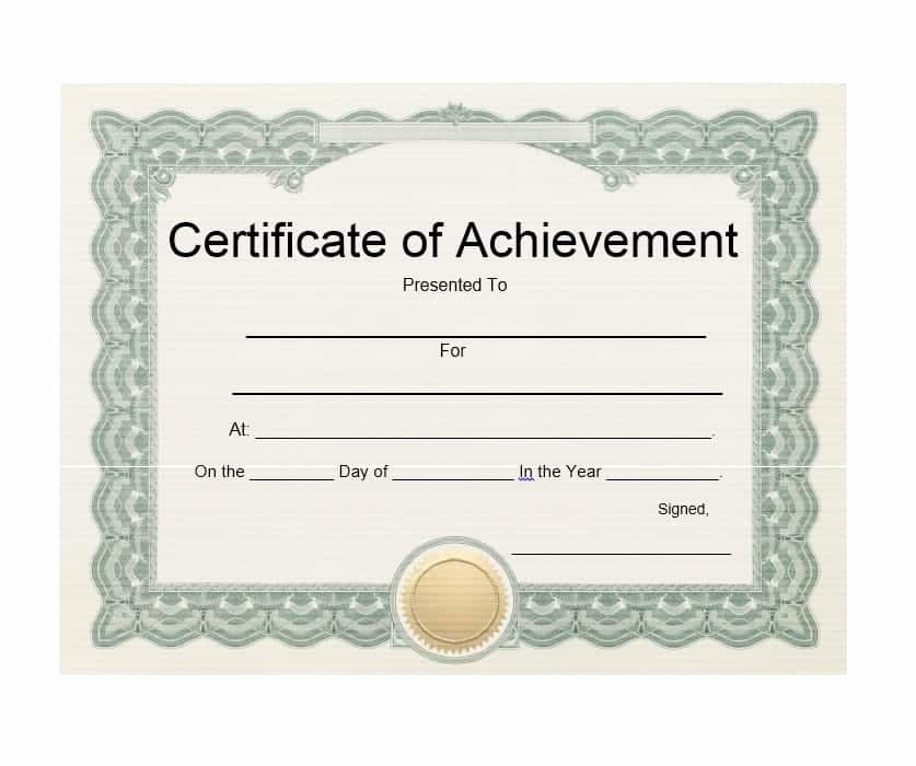 Printable Certificate Of Achievement Template Beautiful 40 Great Certificate Of Achievement Templates Free