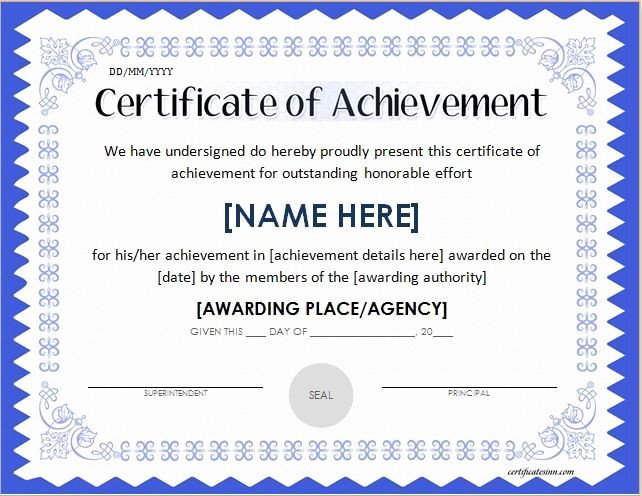 Printable Certificate Of Achievement Template Fresh Certificate Templates