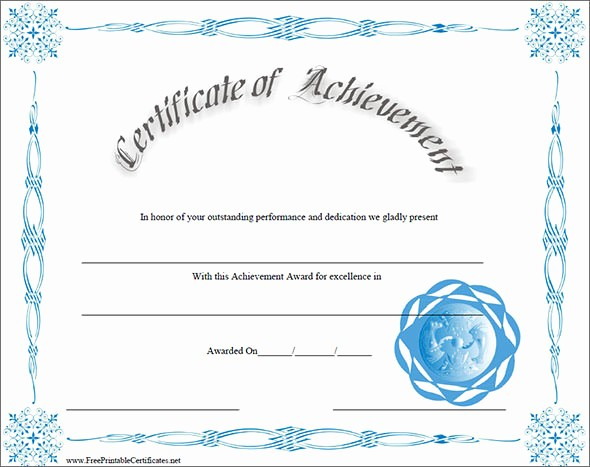 Printable Certificate Of Achievement Template Luxury 38 Best Certificate Of Achievement Templates
