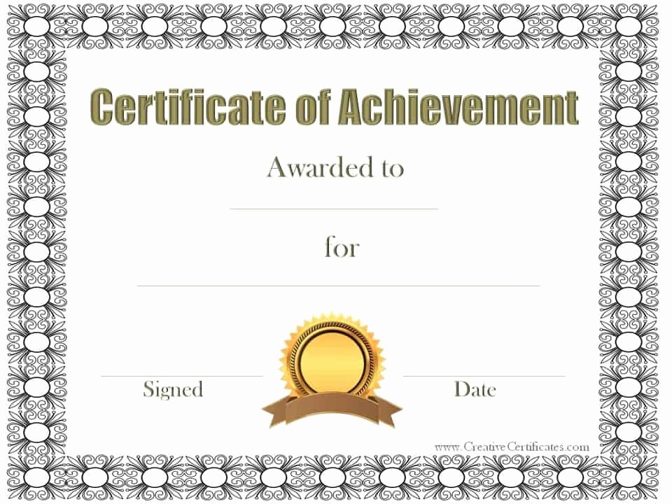 Printable Certificate Of Achievement Template Luxury Free Customizable Certificate Of Achievement