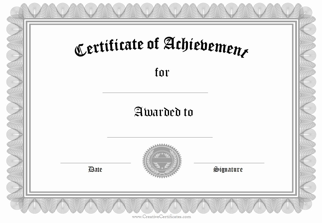 Printable Certificate Of Achievement Template New Certificate Achievement Template