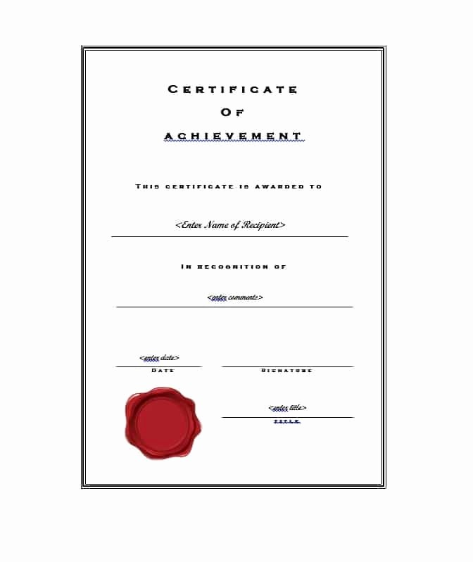 Printable Certificate Of Achievement Template Unique 40 Great Certificate Of Achievement Templates Free