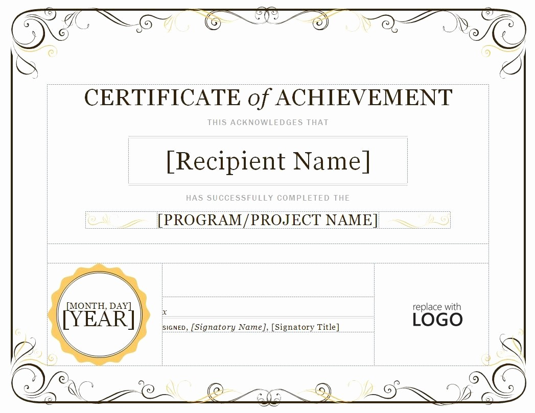 Printable Certificate Of Achievement Template Unique Award Templates Word Example Mughals