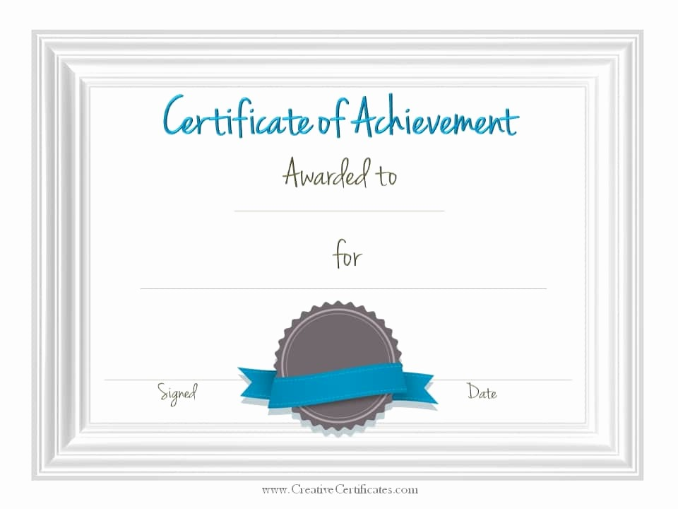 Printable Certificate Of Achievement Template Unique Free Customizable Certificate Of Achievement