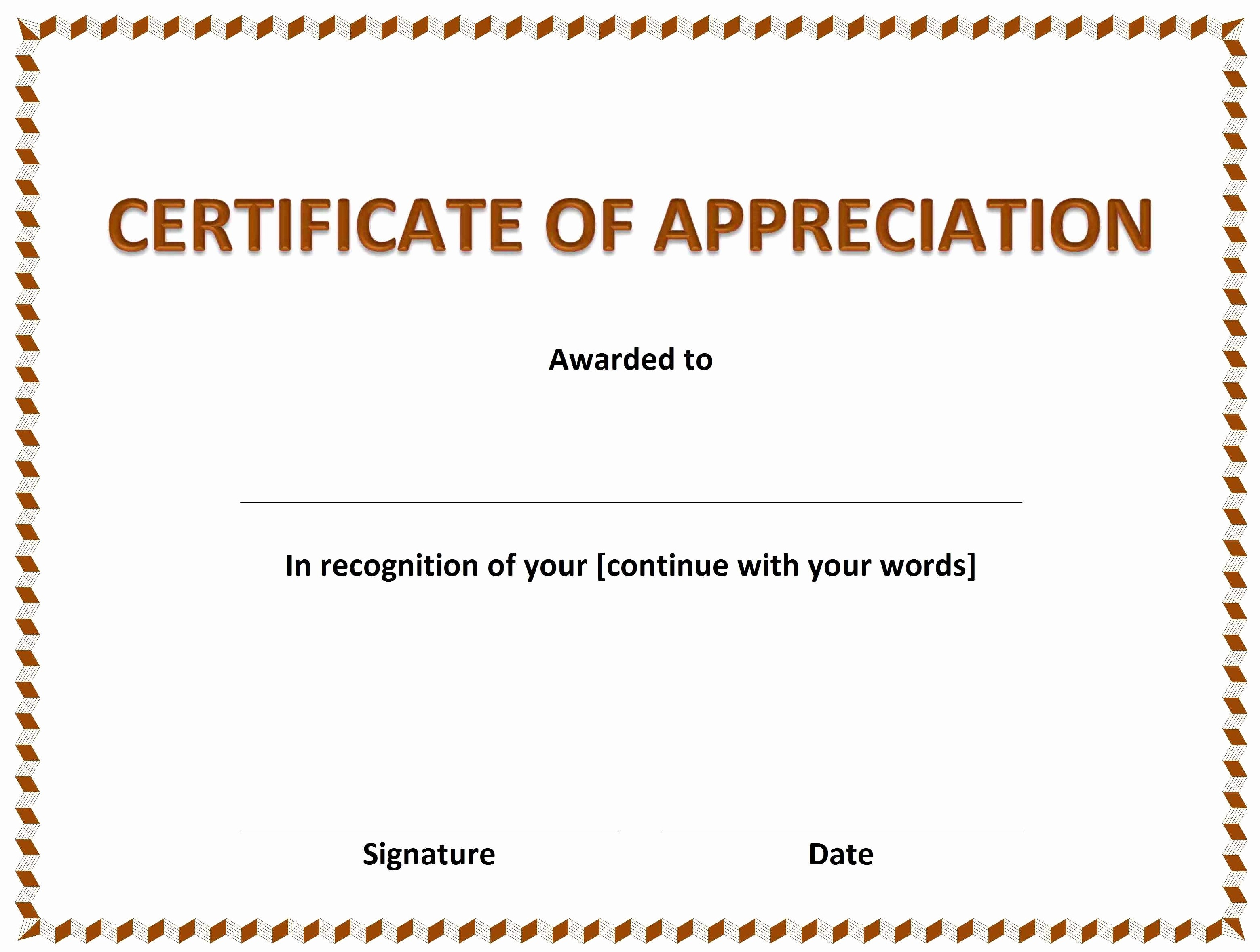 Printable Certificate Of Appreciation Template Awesome Free Certificate Appreciation Template