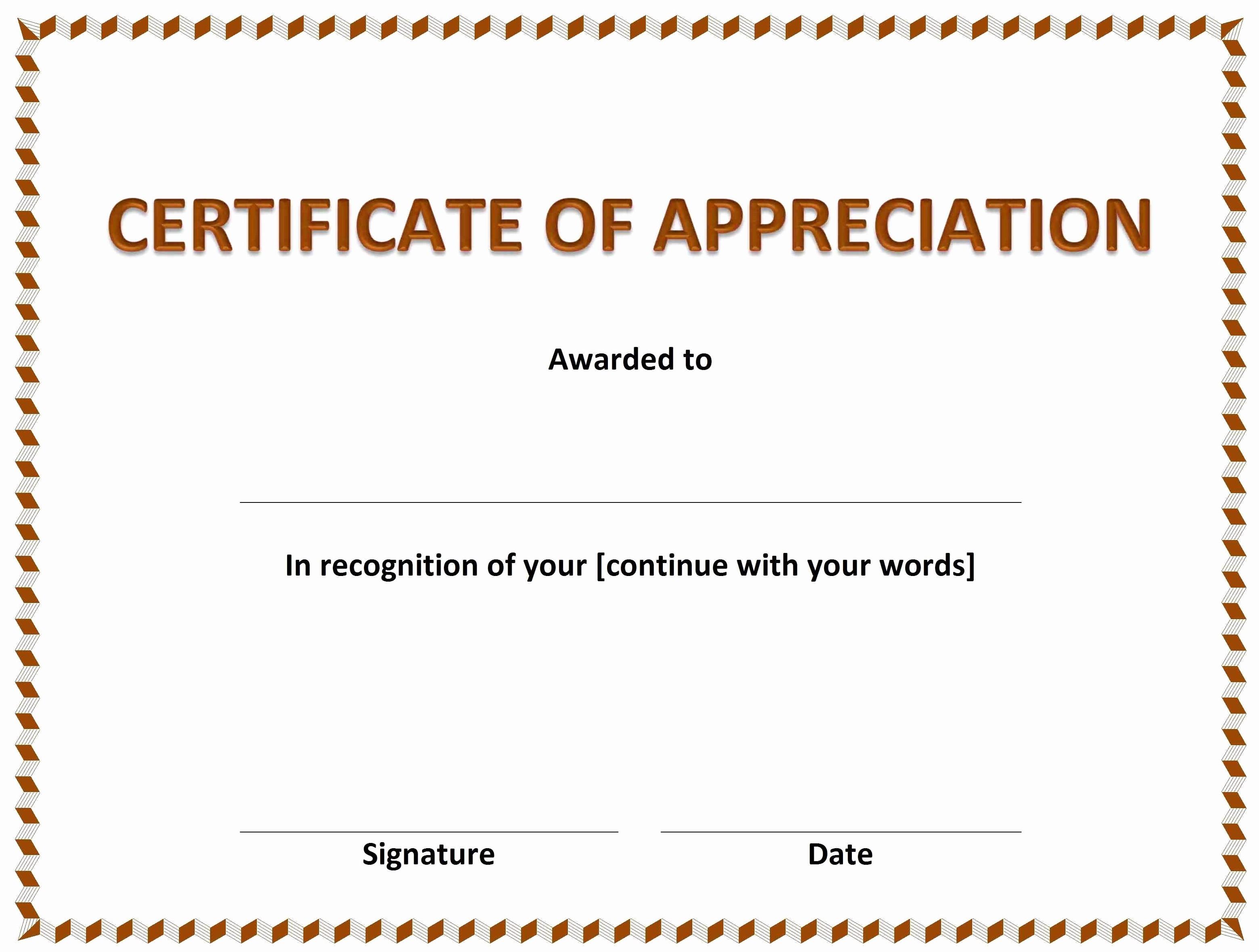 Printable Certificate Of Appreciation Template Awesome Free Certificate Appreciation Template