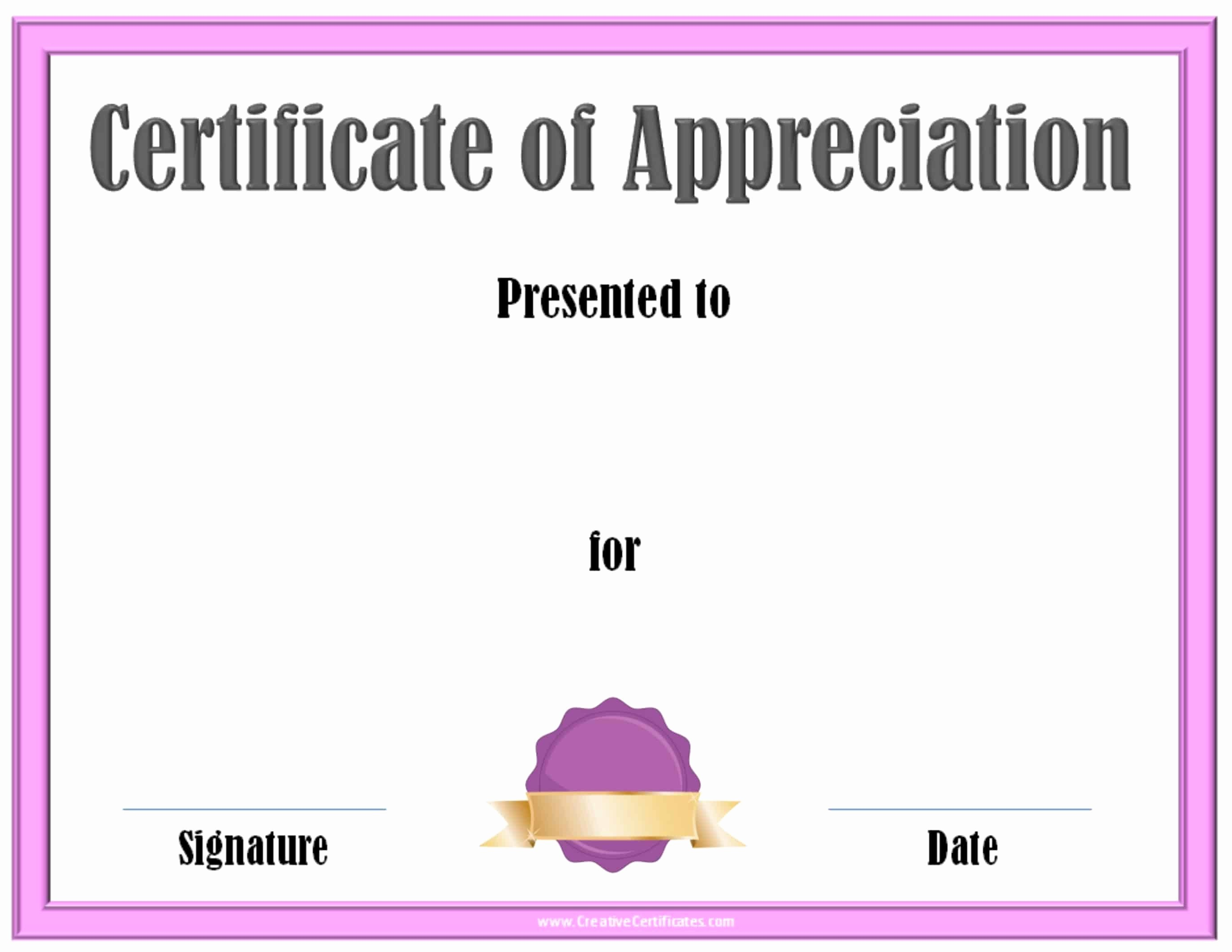 Printable Certificate Of Appreciation Template Awesome Free Editable Certificate Of Appreciation