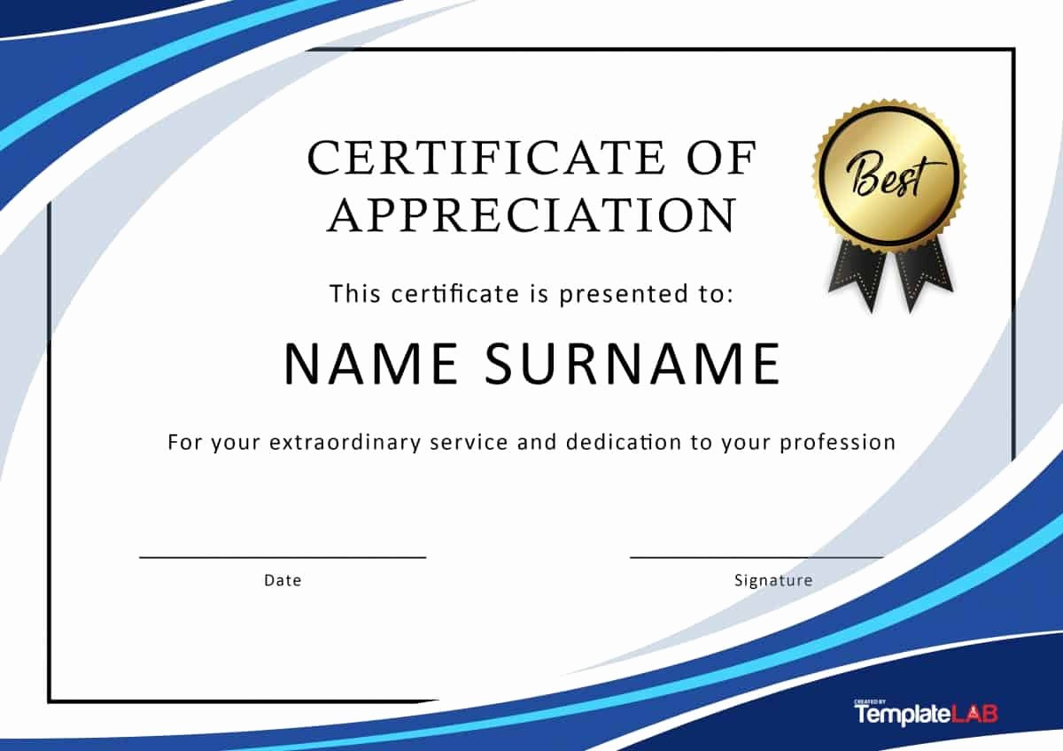 Printable Certificate Of Appreciation Template Beautiful 30 Free Certificate Of Appreciation Templates and Letters