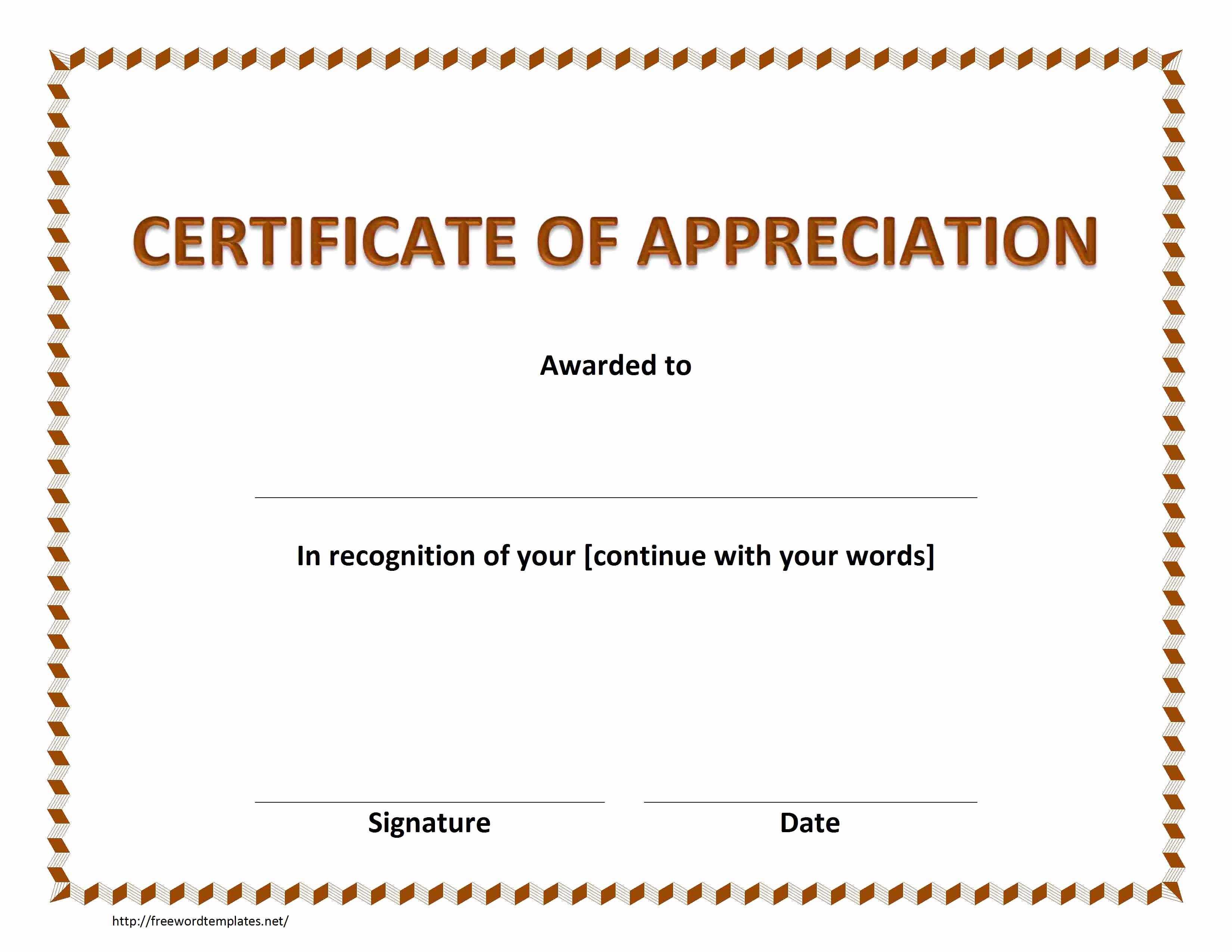 Printable Certificate Of Appreciation Template Beautiful Certificate Of Appreciation