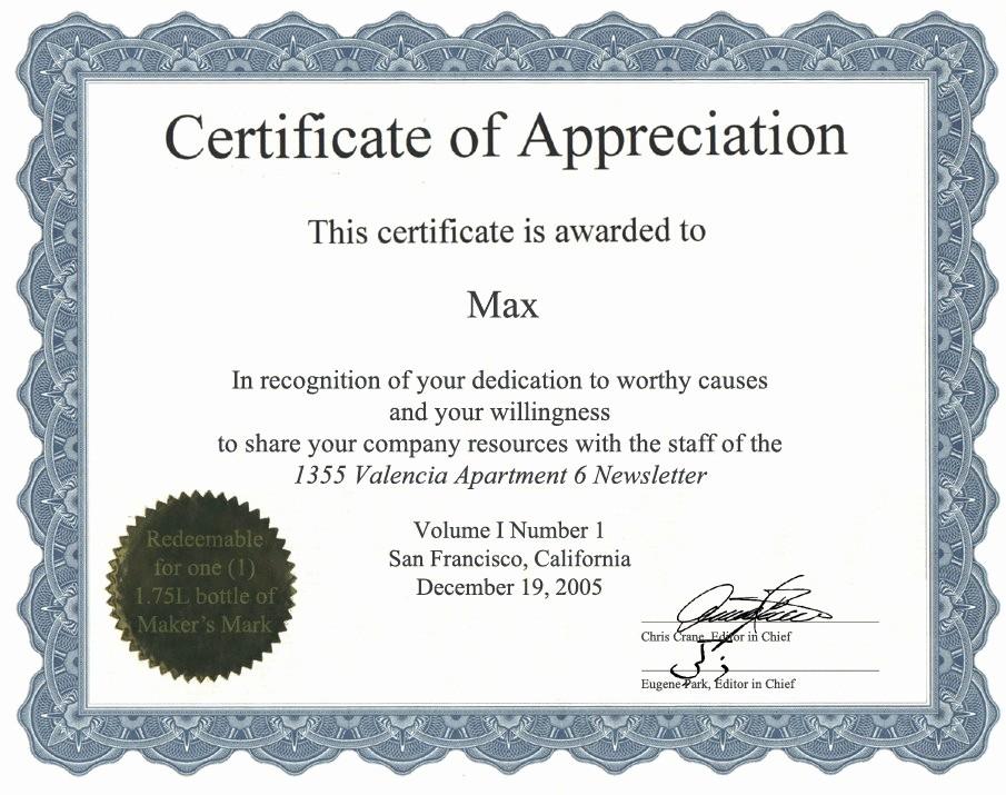 Printable Certificate Of Appreciation Template Best Of Appreciation Certificate