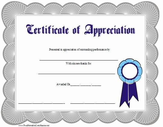 Printable Certificate Of Appreciation Template Elegant 15 Ribbons Certificate Templates
