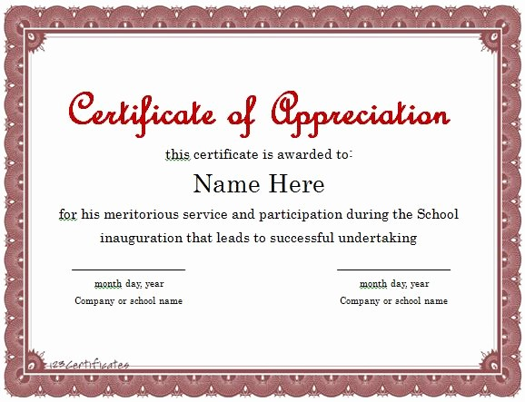 Printable Certificate Of Appreciation Template Elegant 30 Free Certificate Of Appreciation Templates and Letters