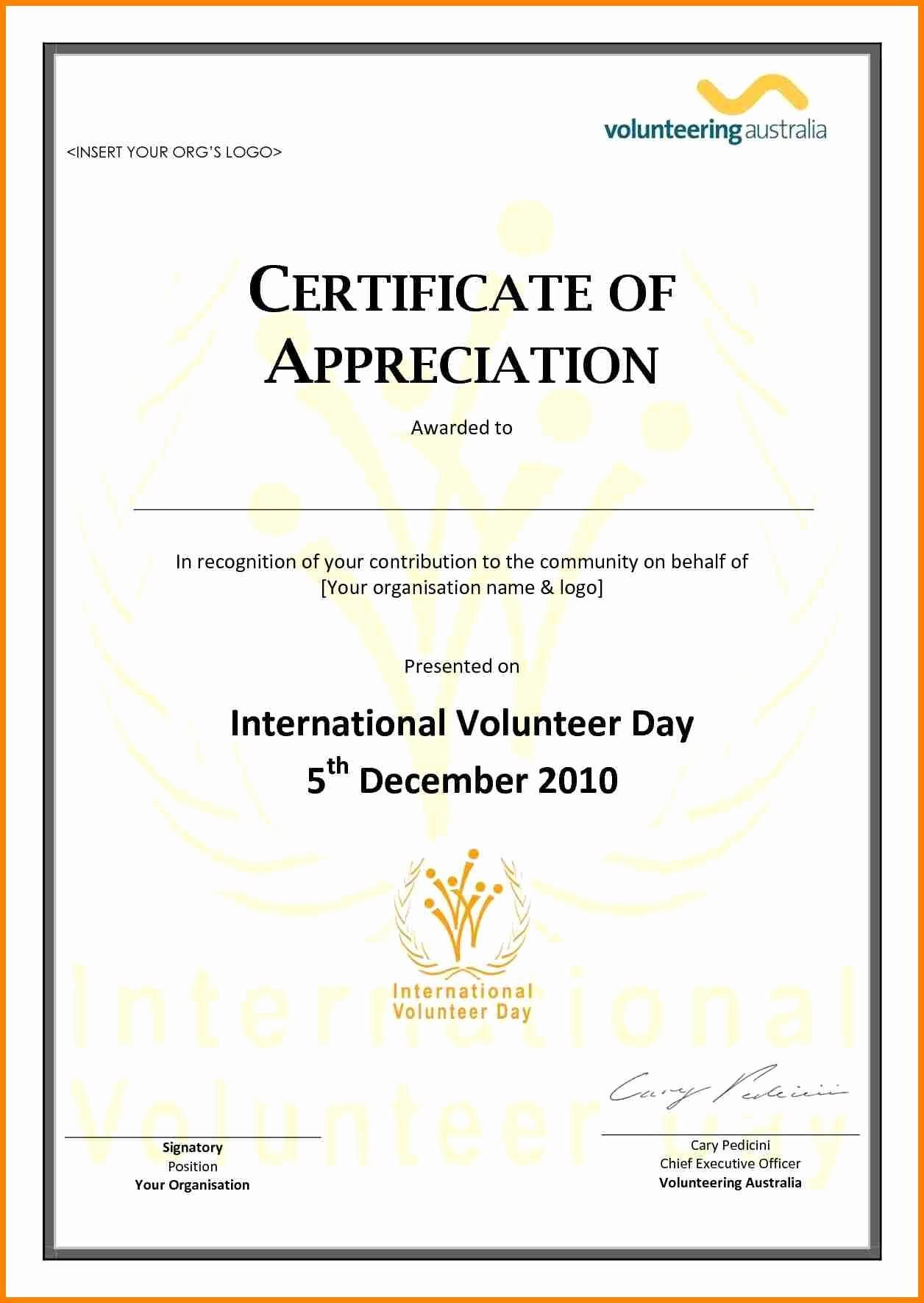 Printable Certificate Of Appreciation Template Elegant Volunteer Appreciation Certificate Template