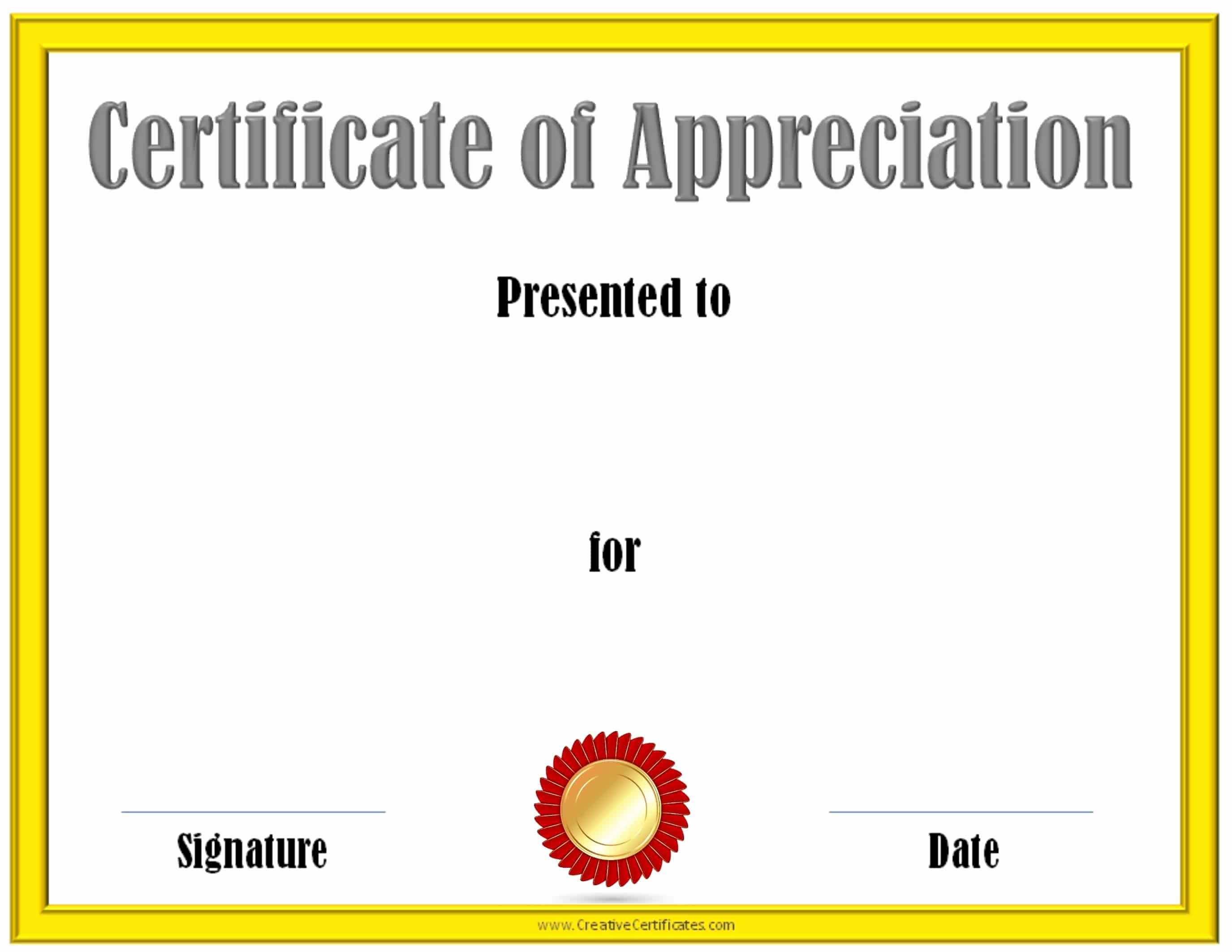 Printable Certificate Of Appreciation Template Fresh Free Editable Certificate Of Appreciation