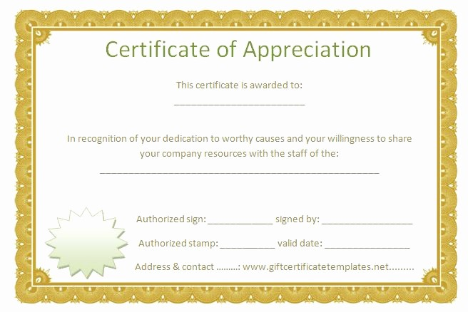 Printable Certificate Of Appreciation Template Fresh Golden Border Certificate Of Appreciation Free
