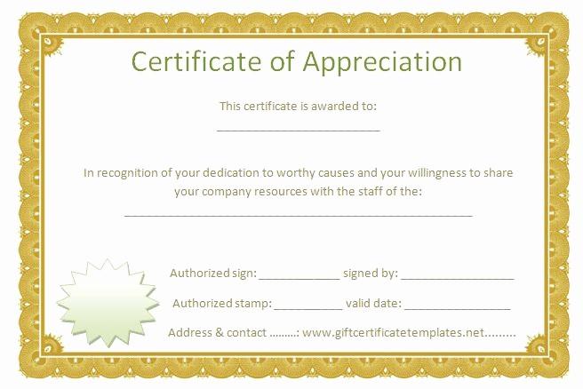 Printable Certificate Of Appreciation Template Fresh Golden Border Certificate Of Appreciation Free