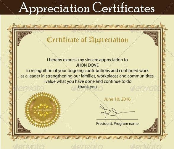 Printable Certificate Of Appreciation Template Inspirational Printable Certificate Of Appreciation Template