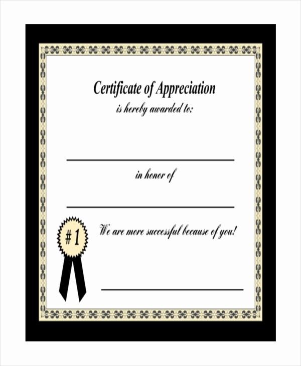 Printable Certificate Of Appreciation Template Lovely 19 Certificate Of Appreciation Templates Free Sample