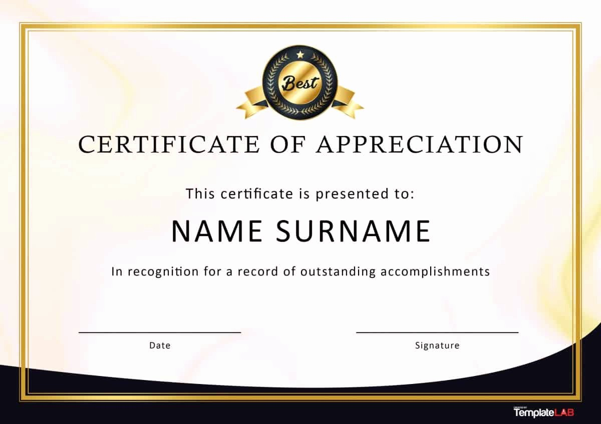 Printable Certificate Of Appreciation Template Lovely 30 Free Certificate Of Appreciation Templates and Letters