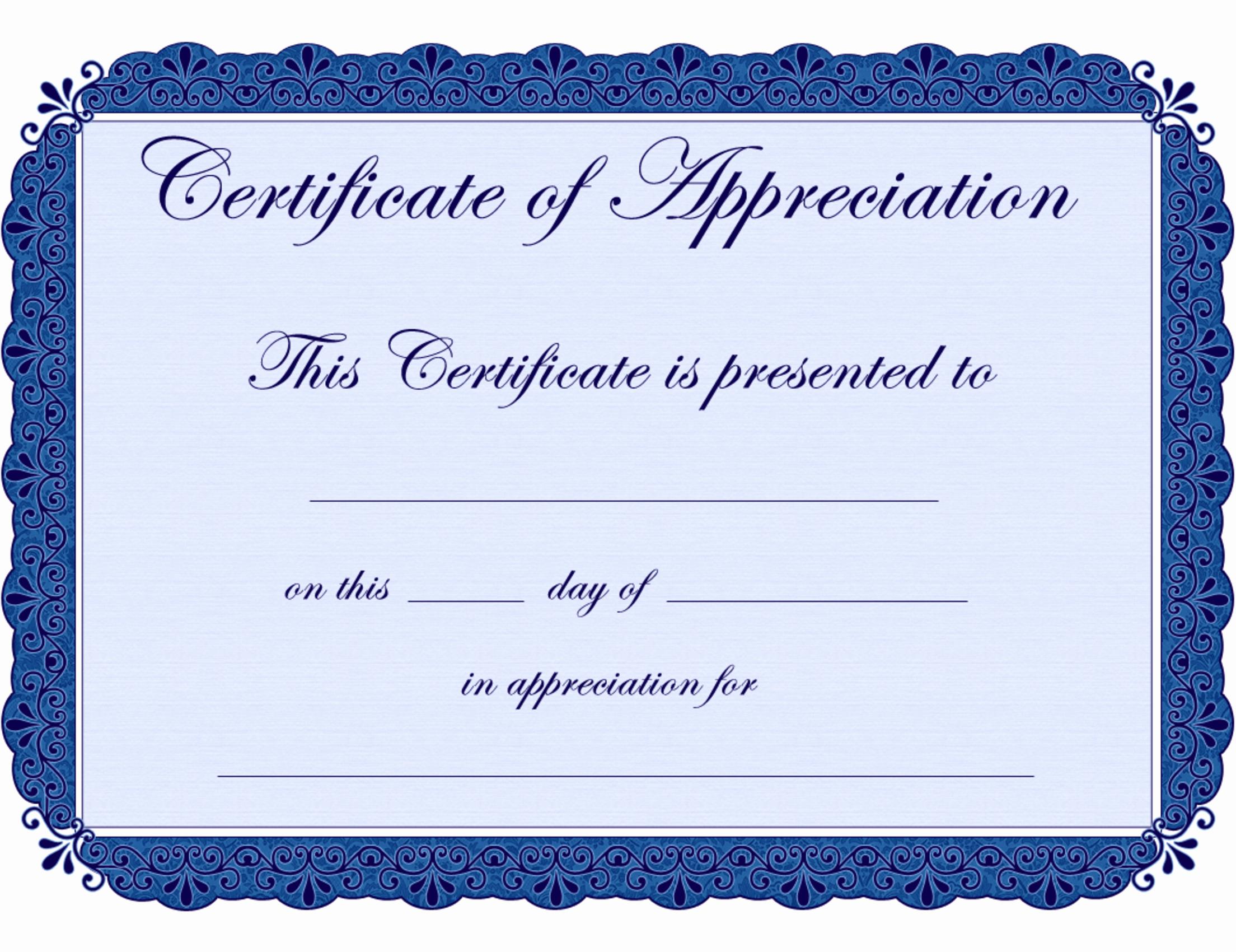 Printable Certificate Of Appreciation Template Lovely Free Printable Certificates Certificate Of Appreciation