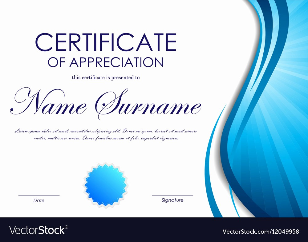 Printable Certificate Of Appreciation Template Luxury Certificate Of Appreciation Template Royalty Free Vector