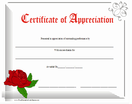 Printable Certificate Of Appreciation Template Luxury Free Certificate Appreciation