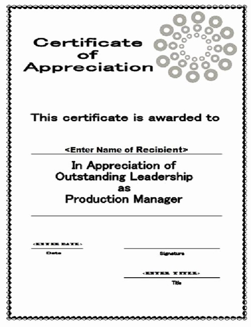 Printable Certificate Of Appreciation Template New 30 Free Certificate Of Appreciation Templates and Letters