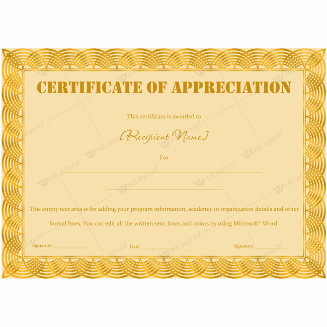 Printable Certificate Of Appreciation Template New 89 Elegant Award Certificates for Business and School events