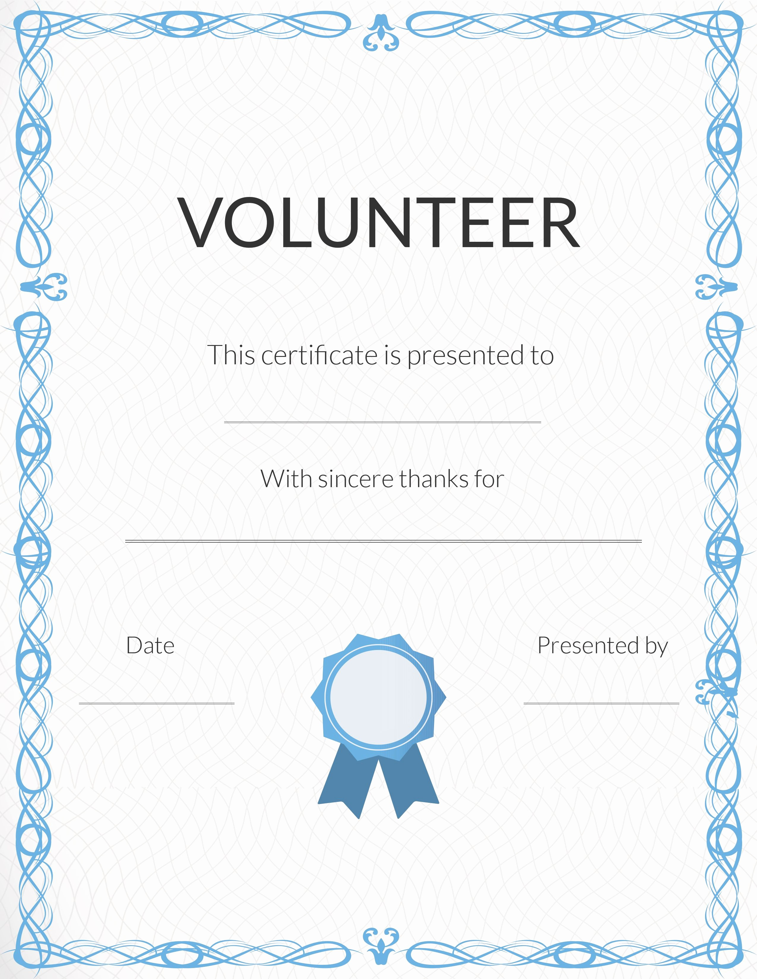 Printable Certificate Of Appreciation Template New Free Volunteer Appreciation Certificates — Signup