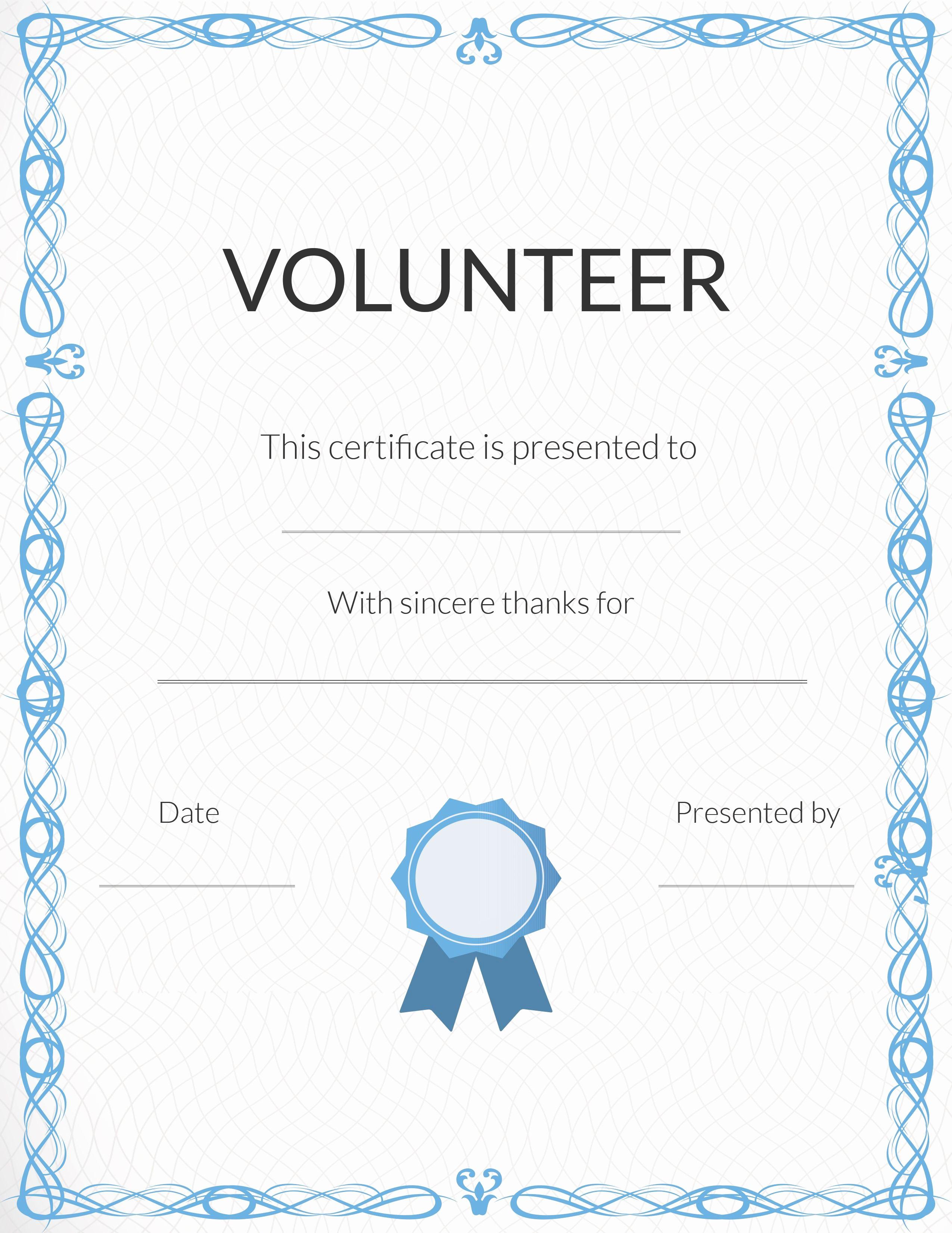 Printable Certificate Of Appreciation Template New Free Volunteer Appreciation Certificates — Signup