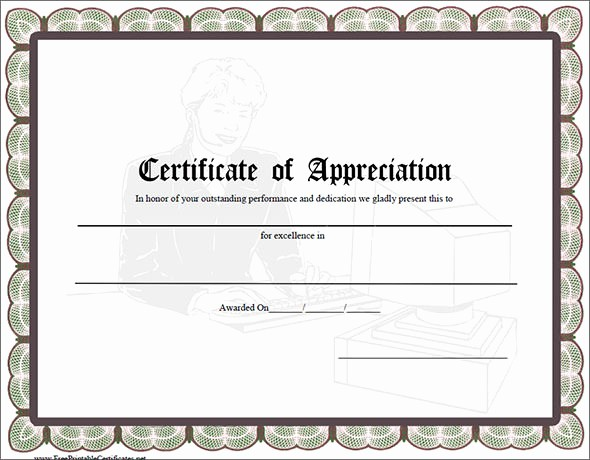 Printable Certificate Of Appreciation Template Unique 27 Best Printable Certificate Of Appreciation Templates