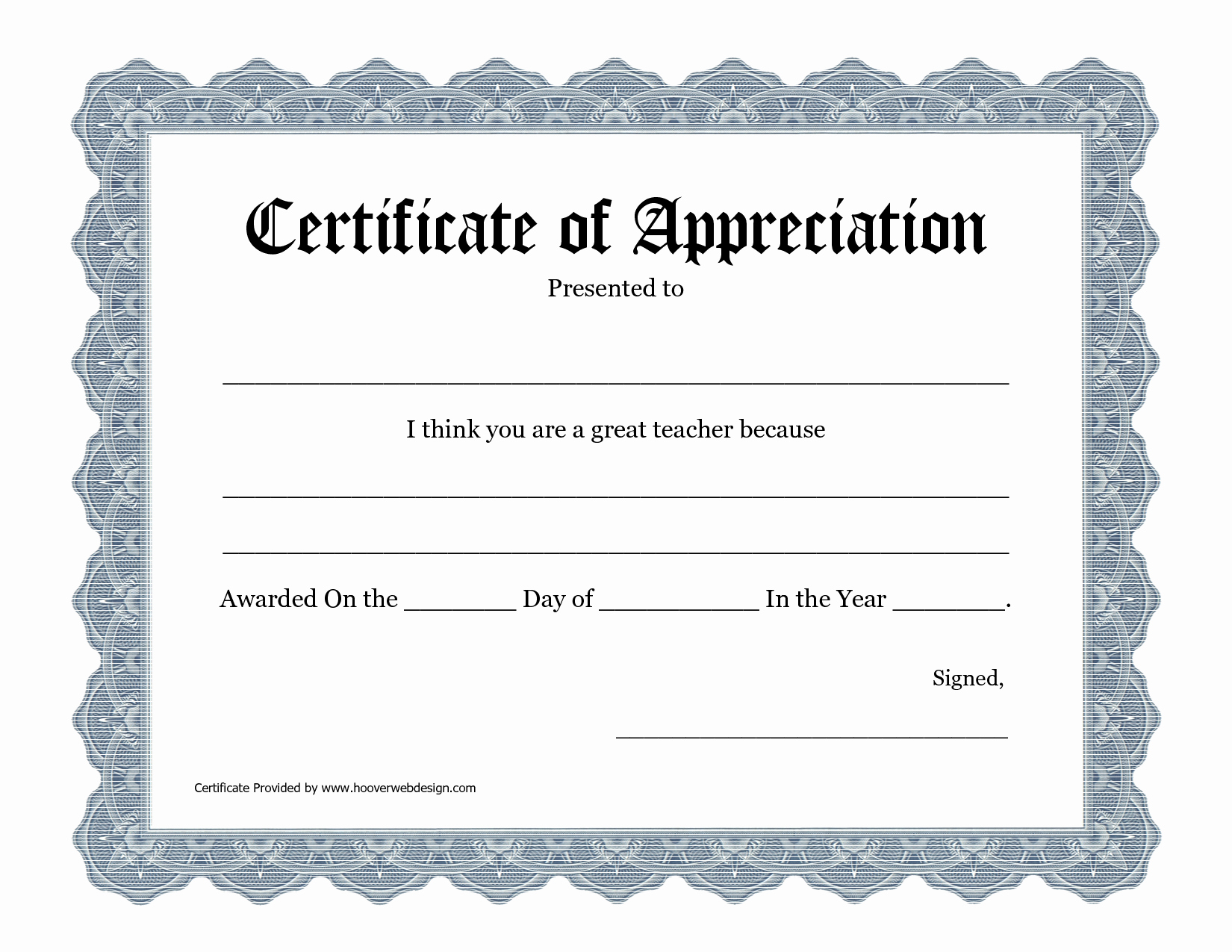 Printable Certificate Of Appreciation Template Unique 5 Best Of Printable Teacher Appreciation
