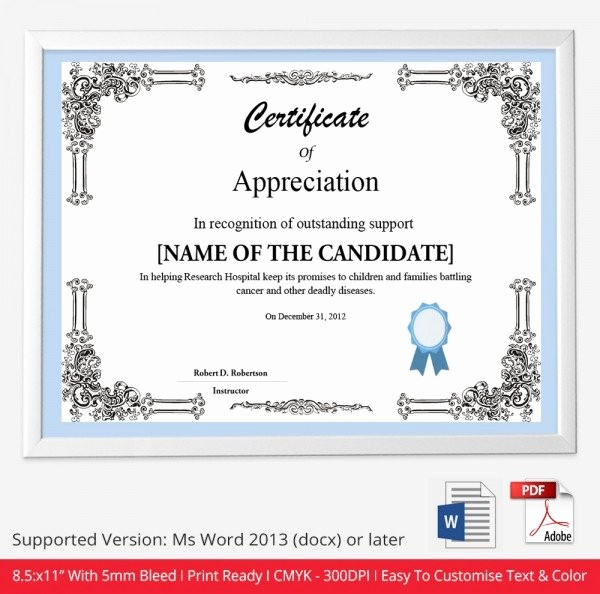 Printable Certificate Of Appreciation Template Unique 52 Free Printable Certificate Template Examples In Pdf