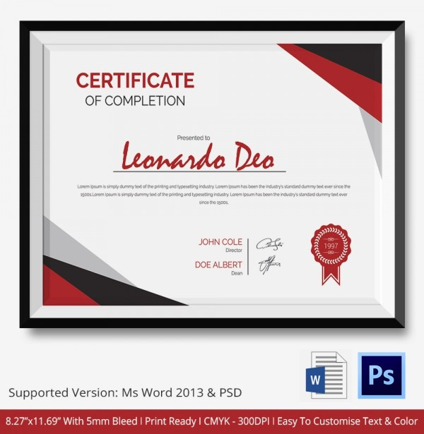 Printable Certificate Of Completion Template Awesome Certificate Of Pletion Template 31 Free Word Pdf