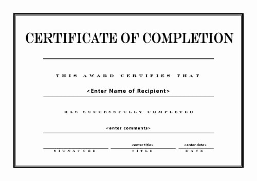 Printable Certificate Of Completion Template Awesome top 5 Free Certificate Of Pletion Templates Word