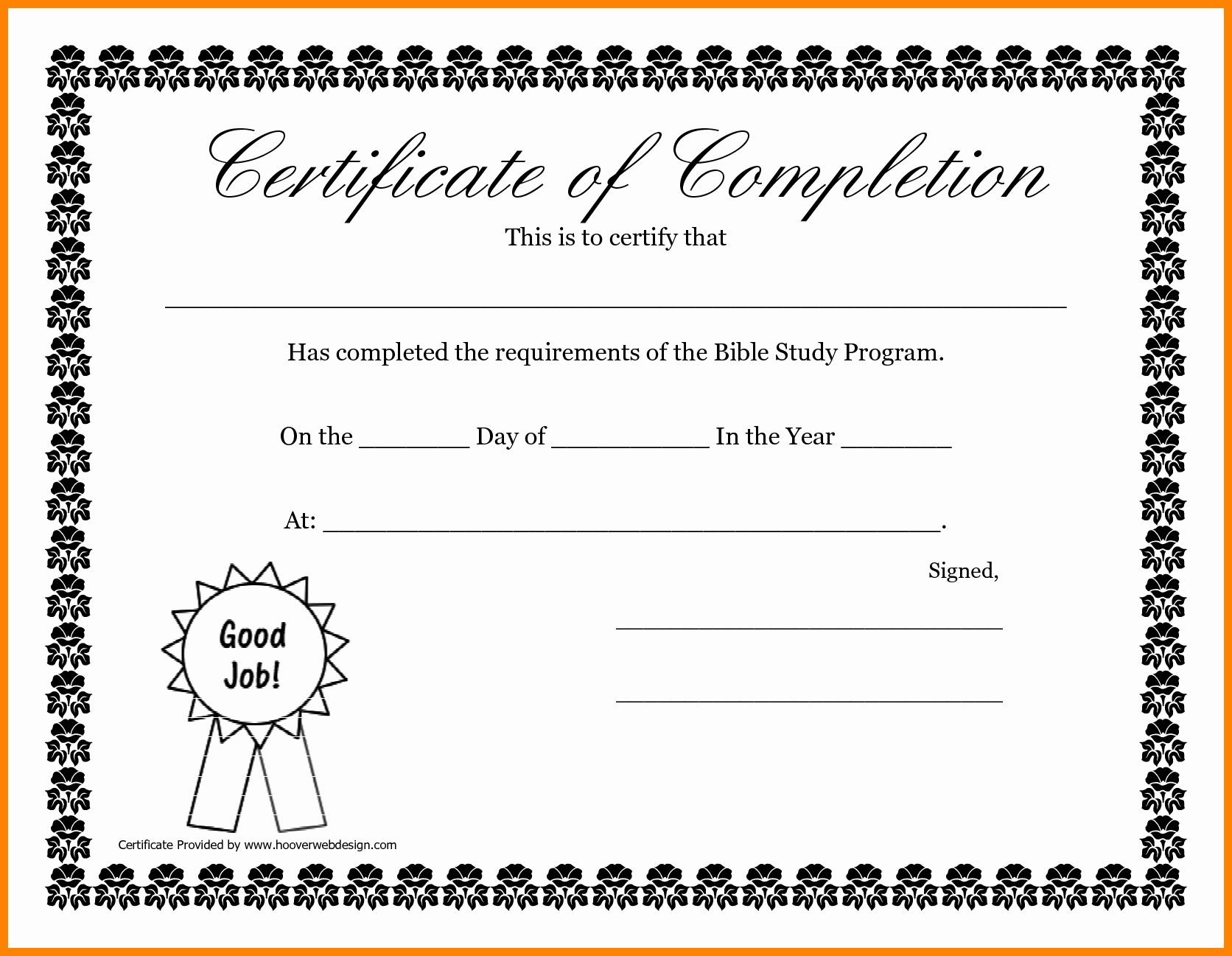 Printable Certificate Of Completion Template Beautiful 6 Certificate Of Pletion Template Free Printable