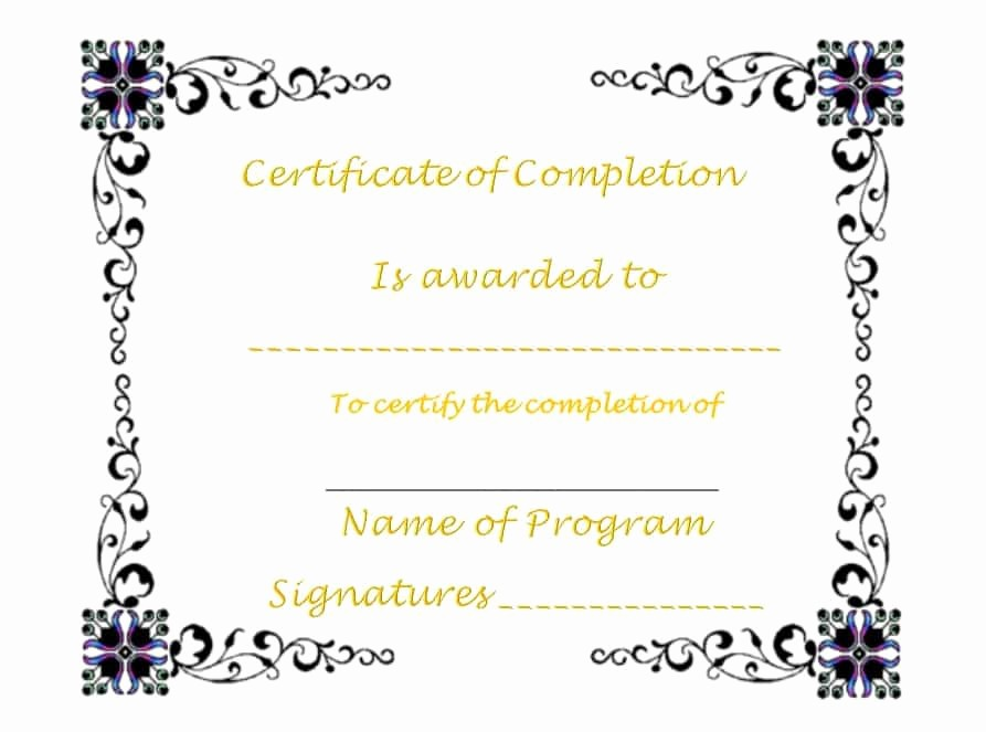 Printable Certificate Of Completion Template Best Of 40 Fantastic Certificate Of Pletion Templates [word